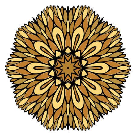 Oriental Mandala. Vintage Decorative Elements. Vector illustration. Golden color. For Coloring Book, Greeting Card, Invitation, Tattoo. Anti-Stress Therapy Pattern Ilustração