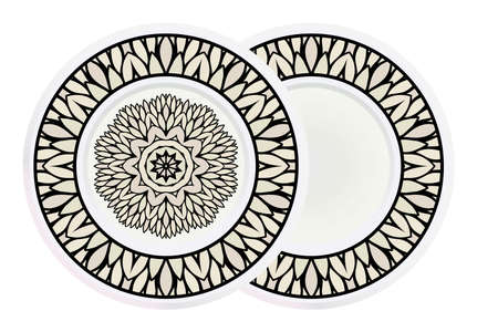 Matching decorative plates for interior designwith floral art deco pattern. Empty dish, porcelain plate mock up design. Vector illustration. White, grey color. Vecteurs