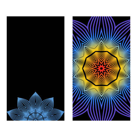 Yoga Card Template With Mandala Pattern. For Business Card, Meditation Class. Vector Illustration. Fantastic gradient color Archivio Fotografico - 125164482