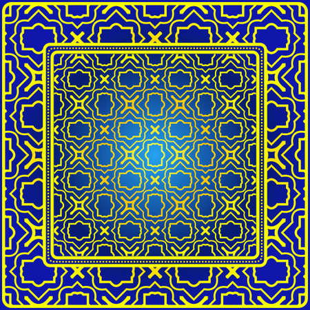 Vintage Decorative Geometric Pattern. Design For Bandana Shawl, Tablecloth Fabric Print. Vector Illustration. Blue yellow color.