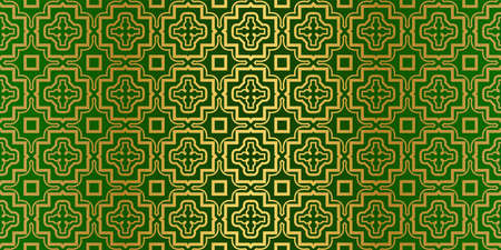 Geometric Modern Luxury Ornament. Seamless Vector Pattern. For Wallpaper, Invitation, Fashion Design. Green gold color. Archivio Fotografico - 125164484