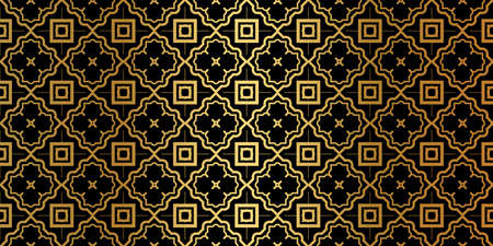 Geometric Seamless Pattern. Modern Traditional Geometric Ornament. Vector Illustration. For The Interior Design, Wallpaper, Decoration Print, Fill Pages, Invitation Card, Cover Book. Black gold color. Archivio Fotografico - 125164499
