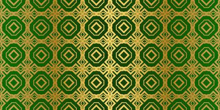 Geometric Modern Luxury Ornament. Seamless Vector Pattern. For Wallpaper, Invitation, Fashion Design. Green gold color. Archivio Fotografico - 125164500