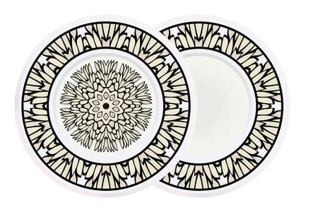 Matching decorative plates for interior designwith floral art deco pattern. Empty dish, porcelain plate mock up design. Vector illustration. White, grey color. Vectores