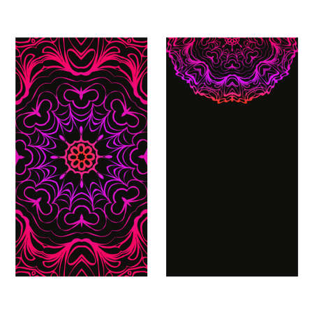 Design Vintage Cards With Floral Mandala Pattern And Ornaments. Vector Illustatration. The Front And Rear Side. Black purple color. Archivio Fotografico - 125164556