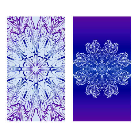 Vector Mandala Pattern. Two Template For Flyer Or Invitation Card Design. For Banners, Greeting Cards, Gifts Tags. Blue silver purple color. Archivio Fotografico - 125164557