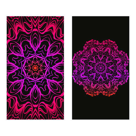 Design Vintage Cards With Floral Mandala Pattern And Ornaments. Vector Illustatration. The Front And Rear Side. Black purple color. Archivio Fotografico - 125164559