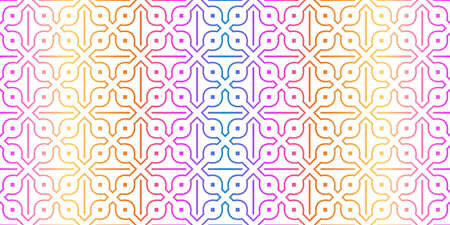Unique, Abstract Geometric Pattern. Seamless Vector Illustration. For Fantastic Design, Wallpaper, Background, Fantastic Print. Rainbow neon gradient color. Archivio Fotografico - 125164561
