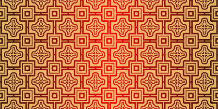 Traditional geometric Ornament. Seamless Vector Pattern. Interior Decoration, Wallpaper, Invitation, Fashion Design. Sunrise red color. Archivio Fotografico - 125164568