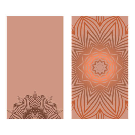 Visit Card Template With Floral Mandala Pattern. Vector Template. Islam, Arabic, Indian, Mexican Ottoman Motifs. Hand Drawn Background. Brown color. Archivio Fotografico - 125164570