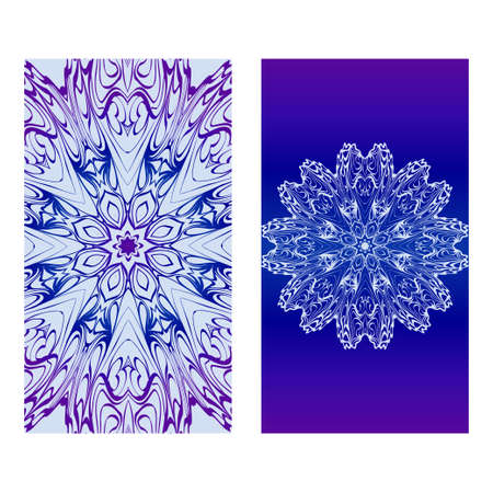 Vector Mandala Pattern. Two Template For Flyer Or Invitation Card Design. For Banners, Greeting Cards, Gifts Tags. Blue silver purple color. Archivio Fotografico - 125164572