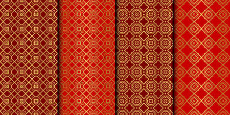 Set of Seamless Pattern With Abstract Geometric Style. Repeating Sample Figure And Line. Vector illustration. red gold color