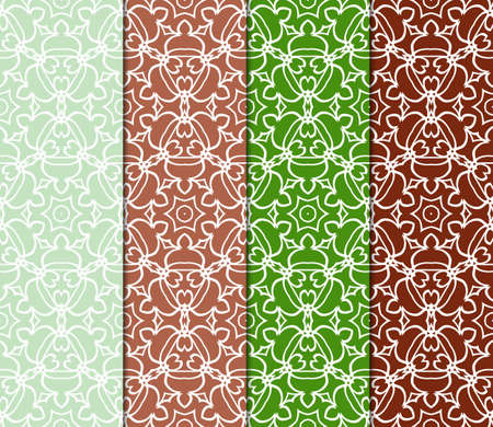 collection of geometric pattern with floral abstract ornament. Seamless vector background. Graphic modern pattern Vecteurs