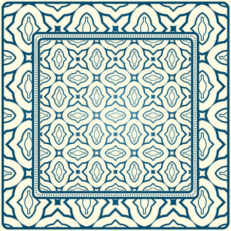 Geometric Ornament With Frame, Border. Art-Deco Background. Bandanna, Shawl, Scarf, Tablecloth Design. Blue milk color.