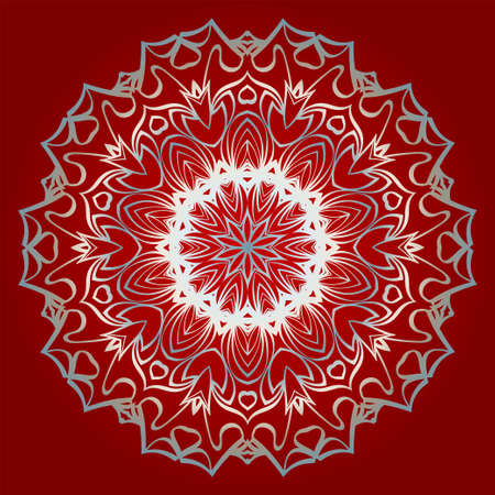 Beautiful Ornament. Floral Mandala Pattern. Vector Illustration. Isolated. Tribal Ethnic Ornament With Mandala. Home Decor Vector Illustration. Red silver color.