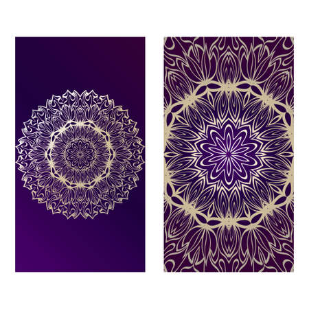 Vintage Cards With Floral Mandala Pattern. Vector Template. The Front And Rear Side. Luxury purple gold color. 矢量图像