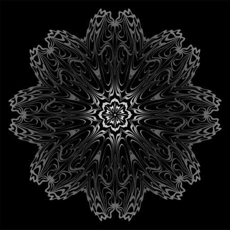 Decorative Elements With Mandala Ornament. Ornamental Floral, Oriental Pattern. Vector Illustration. Indian, Moroccan, Mystic, Ottoman Motifs. Anti-Stress Therapy Pattern. Black, silver color.
