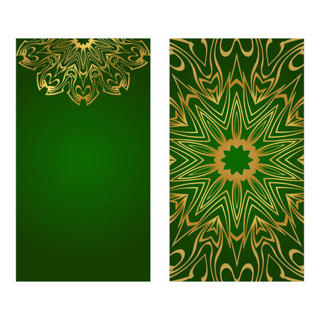 The Front And Rear Side. Mandala Design Elements. Wedding Invitation, Thank You Card, Save Card, Baby Shower. Vector Illustration. Green gold color. Stock Illustratie