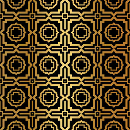 Luxury Art Deco Pattern Of Geometric Elements. Seamless Pattern. Vector Illustration. Design For Printing, Presentation, Textile Industry. Ethnic Arabic, Fashion Decorative Ornament. Black, gold color.