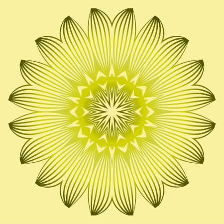 Vector Floral Mandala. Vintage Decorative Elements. Vector Illustration. Yellow gold dreen