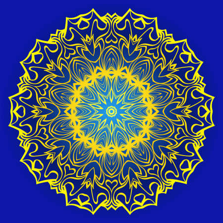 Abstract Geometric Flower. Stylish Fashion Design. Background For Invitation Card. Vector Illustration. Blue, yellow color. Ilustração