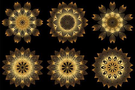 Set of 6 Decorative Round Lace Ornate Mandala. Vintage Vector Pattern For Print. Gold black color.