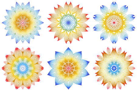 Set of Indian Floral Mandala Pattern.Vector Henna Tattoo Style. Can Be Used For Textile, Greeting Card, Coloring Book, Phone Case Print. Rainbow color.  イラスト・ベクター素材