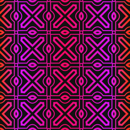 Vector Pattern Paper For Scrapbook. Abstract Geometric Seamless Ornament. Black purple color.