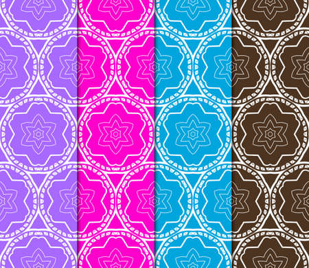 Set of Abstract seamless patterns in delicate bright colors. Geometric ornaments. Vector collection. For design, wallpaper, print, cover book