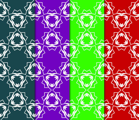 collection of modern pattern with geometric art deco ornament. vector illustration. oriental design. Banco de Imagens - 124990986