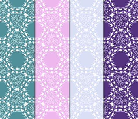Set of vector geometric pattern background. Color background. For design, scrapbook, print Banco de Imagens - 124990988