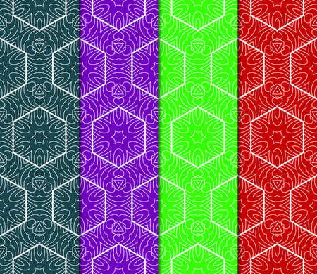 Set of vector geometric pattern background. Color background. For design, scrapbook, print Stock Vector - 124990989