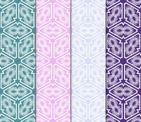 Set of abstract geometric seamless pattern. Color Background, Texture for design, Interior, Print. Vector illustration. Ilustração