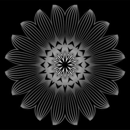 Mandala. For Design, Greeting Card, Invitation, Coloring Book. Arabic, Indian, Motifs. Vector Illustration. Black white grey color