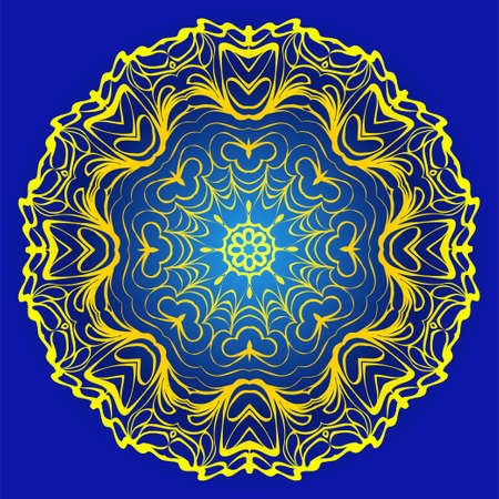 Ornamental Floral Pattern. Hand Draw Mandala. Decorative Elements. Vector Illustration. Anti-Stress Therapy Pattern. Oriental Pattern. Indian, Moroccan, Mystic, Ottoman Motifs. Blue, yellow color. Banco de Imagens - 124991001