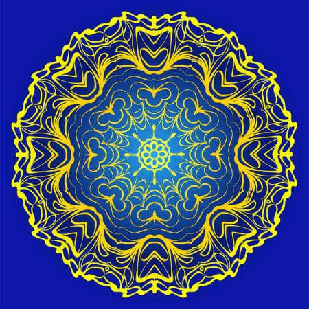 Ornamental Floral Pattern. Hand Draw Mandala. Decorative Elements. Vector Illustration. Anti-Stress Therapy Pattern. Oriental Pattern. Indian, Moroccan, Mystic, Ottoman Motifs. Blue, yellow color.