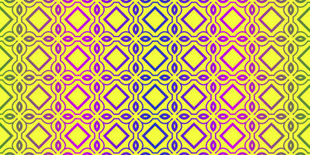 Vector Illustration. Pattern With Traditional Geometric Ornament, Decorative Border. Design For Print Fabric. Yellow purple color.