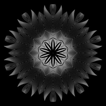 Flower Coloring Mandala. Decorative Elements. Oriental Pattern, Vector Illustration. Indian, Moroccan, Mystic, Ottoman Motifs. Black white grey color.