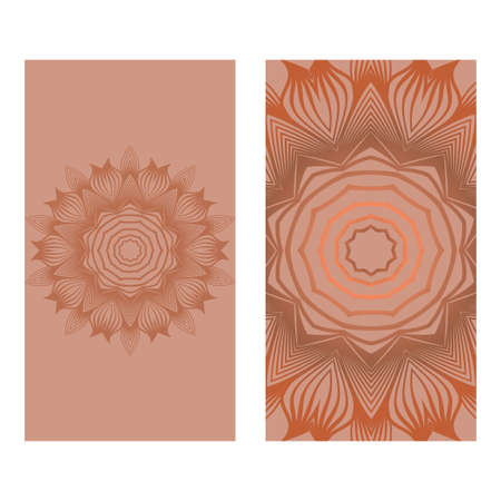 Templates Card With Mandala Design. Vector Illustration. For Visit Card, Business, Greeting Card Invitation. Brown color.