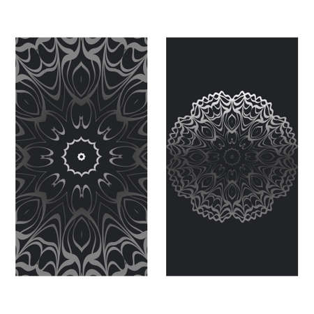 Templates Card With Mandala Design. Vector Illustration. For Visit Card, Business, Greeting Card Invitation. Black silver color