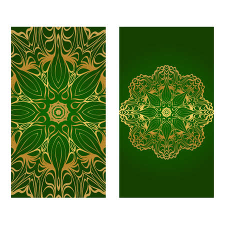 Modern Vector Template With Tribal Mandalas. For Brochure, Flyer, Cover, Magazine. Green gold color.