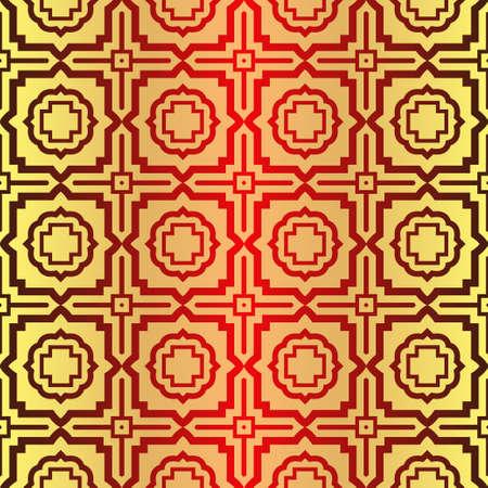 Beautiful Seamless Geometric Ornament Vector Illustration. Abstract. Sunrise color.