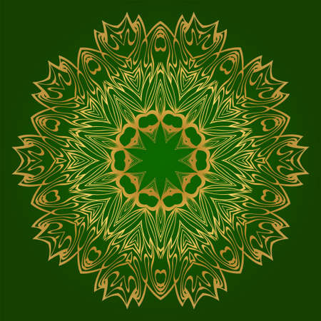 Flower Coloring Mandala. Decorative Elements. Oriental Pattern, Vector Illustration. Indian, Moroccan, Mystic, Ottoman Motifs. Green gold color.