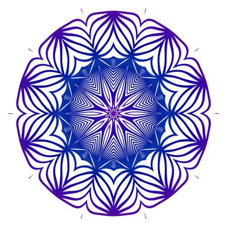 Vector Illustration. Modern Decorative Floral Mandala. Hand Drawn Background. Islam, Arabic, Indian, Ottoman Motifs. Purple blue gradient. Illusztráció