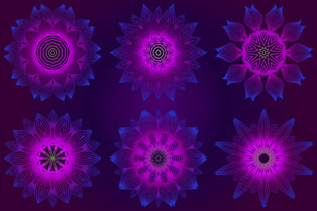 Set of Anti-Stress Therapy Pattern. Mandala. For Design Backgrounds. Vector Illustration. Can Be Used For Textile, Greeting Card, Coloring Book, Phone Case Print. Purple color.