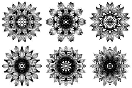 Set of Hand Drawn Background With Mandala. Vector Decorative Elements. Arabic, Indian, Ottoman Motifs. Black white color. Ilustrace
