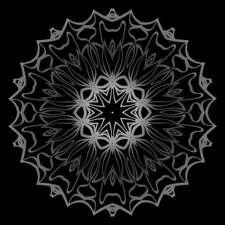 Mandala Ornament. Vector Illustration. For Wedding, Bridal, Valentines Day, Card Invitation. Oriental Pattern. Indian, Moroccan, Mystic, Ottoman Motifs. Anti-Stress Therapy Pattern. Silver, black Ilustração