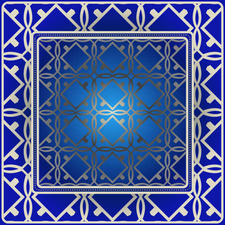 Background, Geometric Pattern With Ornate Lace Frame. Illustration. For Scarf Print, Fabric, Covers, Scrapbooking, Bandana, Pareo, Shawl. Blue silver color.