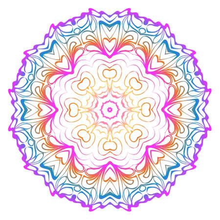 Decorative Art Deco Mandala From Floral Elements. Vector Illustration. For Coloring Book, Greeting Card, Invitation, Tattoo. Anti-Stress Therapy Pattern. Rainbow color. Illusztráció