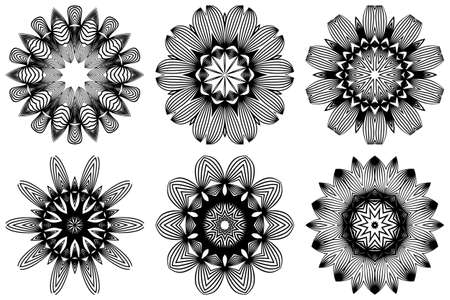 Set of Hand Drawn Background With Mandala. Vector Decorative Elements. Arabic, Indian, Ottoman Motifs. Black white color. Illustration